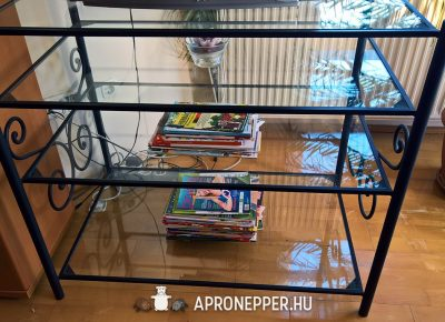 Kovácsolt vas multimédiás üveg TV állvány